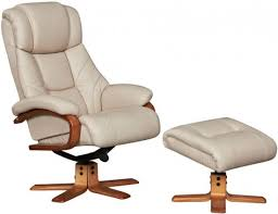 cologne taupe real leather recliner chair with footstool 70392