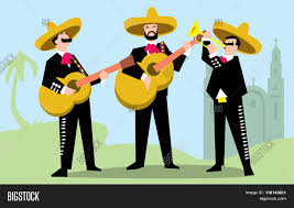 cartoon sombrero mariachi band in mexican sombrero with guitar mexican music band