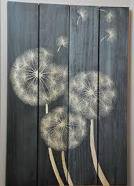 dandelion wood plaques wall dandelion seeds 4 panel wall black wash carved wood