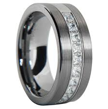 wedding rings tungsten images Carat brushed finish pipe cut tungsten wedding ring size 7 15 jpg