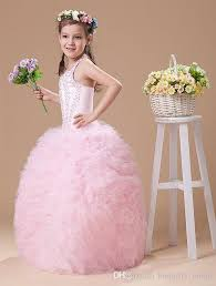 cute baby girls pink dress new year fashion ball gown haltersweep