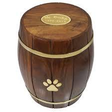 pet urn paw print wood barrel pet urn