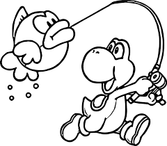 yoshi nintendo catch fish coloring wecoloringpage