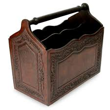 Hand Crafted Colonial Leather Wood Magazine Rack Furniture - Gracious home furniture