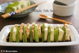 avocado and tofu salad with truffle infused soy sesame dressing