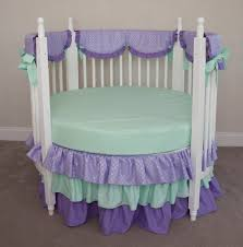 Purple Nursery Curtains by Bedroom Brown Round Cribs With Ruffled Curtain And Blue Wall For