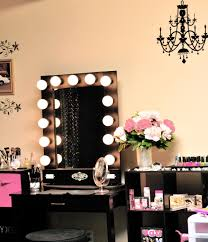 Make Up Mirrors With Lighted Rectangle Black Wooden Makeup Table With Single Drawer And