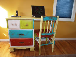 fascinating interior room decoration idea with colorful desk again