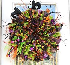 halloween deco mesh wreath with witch legs and by 4allseasons