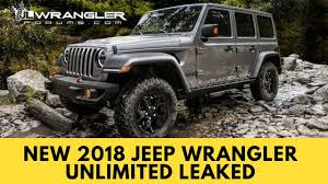 new jeep wrangler new 2018 jeep wrangler unlimited leaked youtube