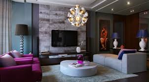 fascinating purple decorating theme in beautiful living room