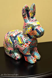 paper mache bunnies washi patchwork bunny as the bunny hops