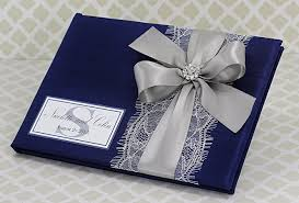 wedding gift book wedding guest book navy blue and silver with lace