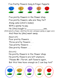 five pretty flowers song u0026 finger puppets printable and lesson