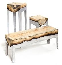 beautiful handmade furniture fuses aluminium and wood together