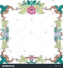 historical frame pastel color floral ornaments stock vector