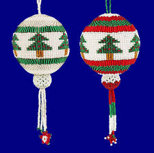 guatemalan handmade beaded christmas tree round ornament your choice