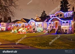 neighborhood houses decorated lighted christmas new stock photo