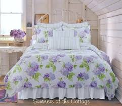 Queen Shabby Chic Bedding by Periwinkle Cottage Pink Lavender Hydrangea Flowers Shabby Beach