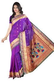Buy Violet Embroidered Art Silk Buy Purple Embroidered Art Silk Paithani Orissa Saree With Blouse