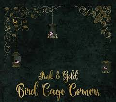 pink and gold birdcage corner clipart gold png digital graphics