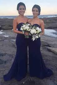 mermaid sweetheart sweep train royal blue bridesmaid dresses
