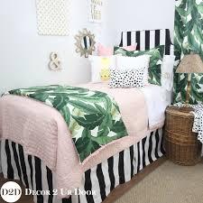 light pink and white bedding palm leaf blush pink black white quilt dorm bedding set