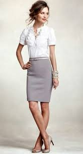 i like the casual v neck mixed with a pencil skirt and heals