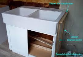 ikea kitchen sink cabinet ikea domsjo sink in non ikea kitchen cabinet diy