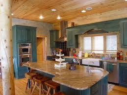 blue kitchen cabinets in cabin kitchen colors add pizzazz to your log home katahdin cedar