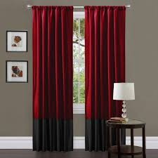 great red and tan curtains and red tan and brown shower curtain