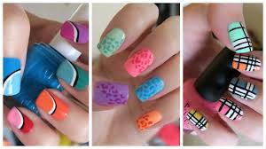 summer nail art three colorful designs missjenfabulous