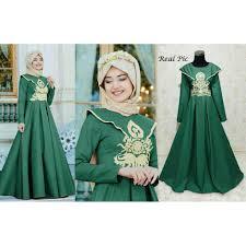 Baju Muslim Wanita muslim wanita 118317 gamis pesta narisa hijau gamis jumbo