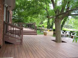 deck with tree in middle exterior landscaping pinterest