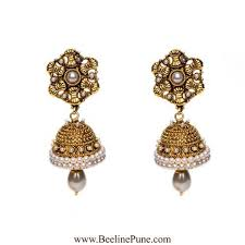 jhumka earrings online buy golden jhumka with pearl chain earrings online hayagi