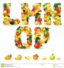 colorful letters from fruit and berries clip art royalty free