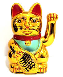 large feng shui gold beckoning cat wealth lucky waving