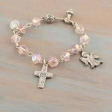 gifts for confirmation girl pink catholic rosary bracelet angel cross charm girl