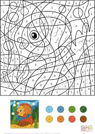 golden fish color by number free printable coloring pages