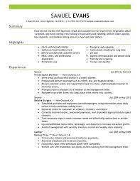 Resume Examples Waitress by Sample Server Resume Haadyaooverbayresort Com