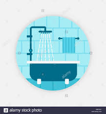 blue bath with shower vector illustration eps 10 stock vector