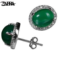 allergy free jewelry zabra 925 silver chrysoprase stud earrings green