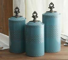 blue kitchen canister sets turquoise canister ebay