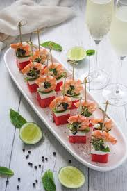 canapes with prawns watermelon prawn and feta tapas temptation for food