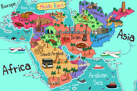 mid east map middle east countries map in style by artisticco