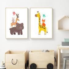 toile chambre enfant décoration poster toile animaux girafe renard oiseau