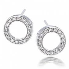 sterling silver pave cz open circle stud earrings