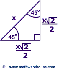 special right triangles formulas 30 60 90 and 45 45 90 special