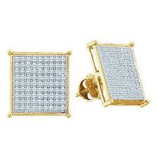 10k earrings mens iced out yellow gold diamond 10k earrings 9 17mm bling jewelz