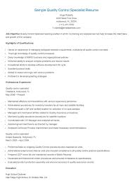 Quality Control Resume Sample by Quality Control Resume